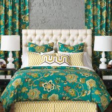 bedding and drapes in bedroom
